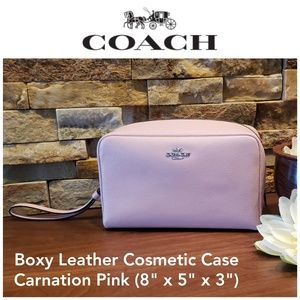 NEW Coach Boxy Cosmetic Case in Carnation Pink